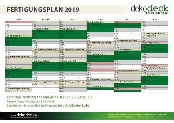Für Sie: Fertigungsplan 2019 für Paneele der Marke dekodeck