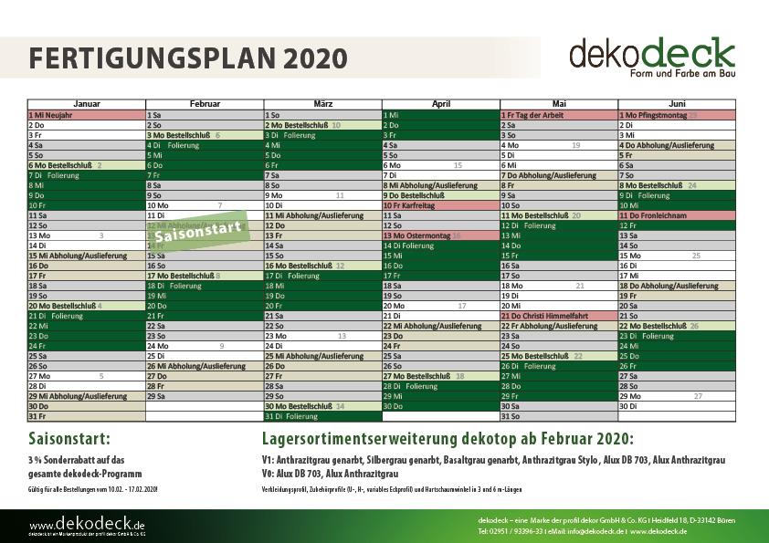 Für Sie: Fertigungsplan 2020 für Kunststoffpaneele der Marke dekodeck