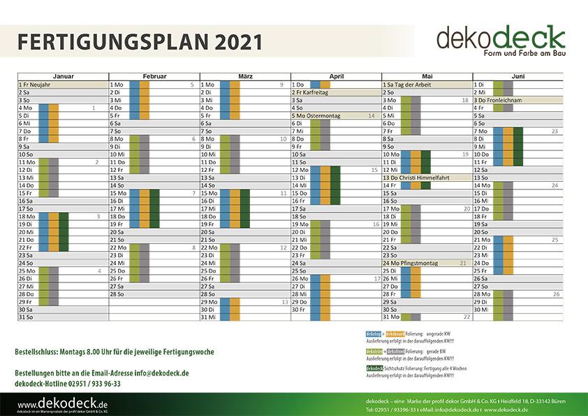 Fertigungsplan für dekodeck Profil und Fassadenverkleidungen