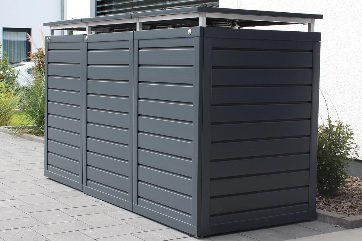 Muelltonnenbox aus Aluminium und Kunststoff